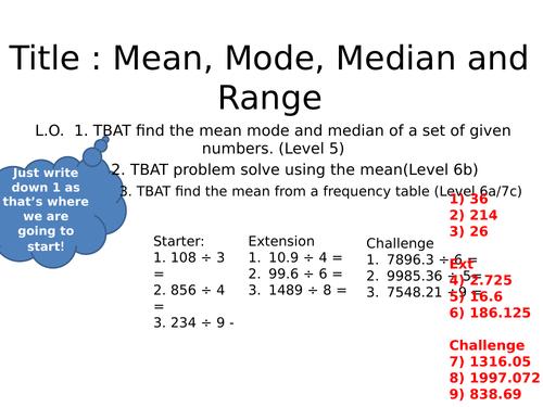 Averages and Range - GCSE Foundation Revision