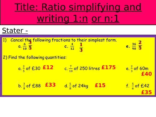 Ratio (ALL) - GCSE Higher