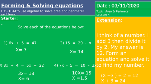 Forming and Solving GCSE Higher
