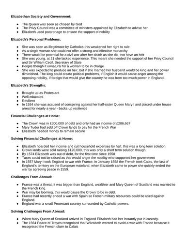 GCSE Edexcel 9-1 Early Elizabethan England Revision Notes