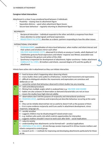 AQA Psychology Attachment Essay Plans