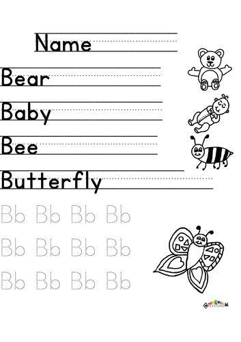 B words practice letter formation or phonics