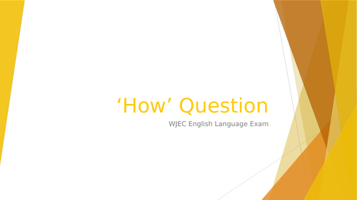 How Question WJEC GCSE English Language exam revision