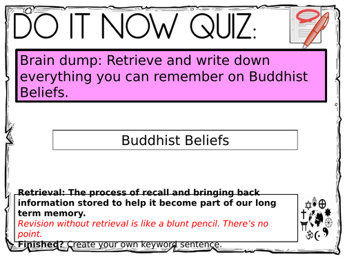 AQA Buddhism Beliefs - Revision Flash Cards