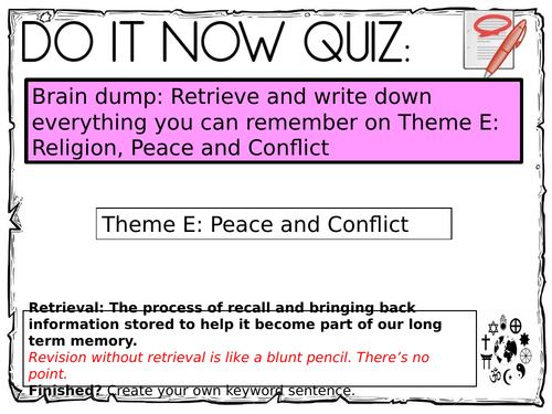 Theme D - Peace and Conflict Flash Cards (Buddhism and Christianity)