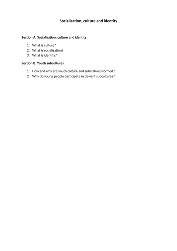 OCR Sociology A level checklist: Paper 1 - Socialisation, culture and identity (youth subculture)