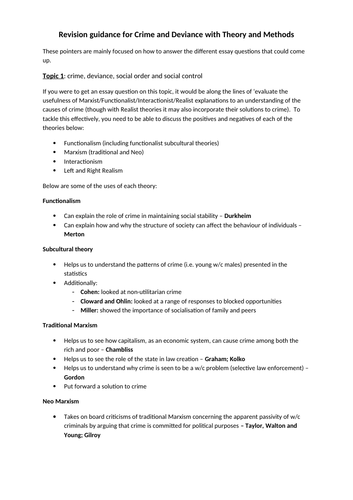 Revision guidance for AQA A level Sociology Paper 3: Crime and Deviance with Theory and Methods