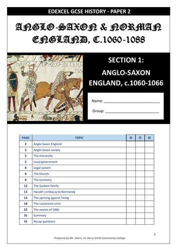 Edexcel GCSE 9-1 History: Paper 2 Anglo-Saxons & Normans workbook (new 2020 edition)