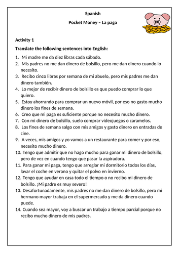 Spanish - Pocket Money Worksheet - la paga / el dinero de bolsillo