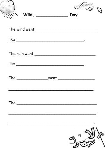 Wild Weather poem frame + example