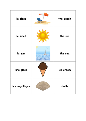 French beach vocab pack