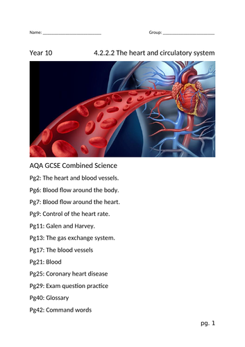 Heart and Circulation Booklet - AQA GCSE 4.2.2.2