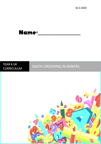 Math ordering numbers booklet year 6
