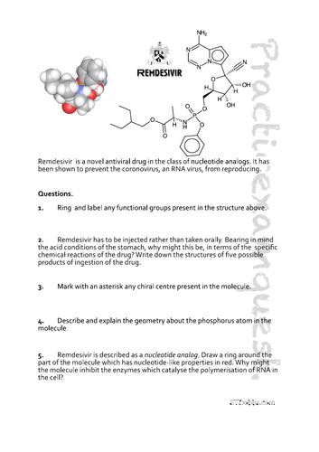 Remdesivir, anti-coronovirus drug: Practicexamques