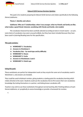 Edexcel GCSE German vocabulary: Theme 1.1 Who am I?