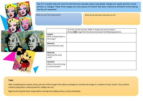 Pop Art analysis and activity worksheet