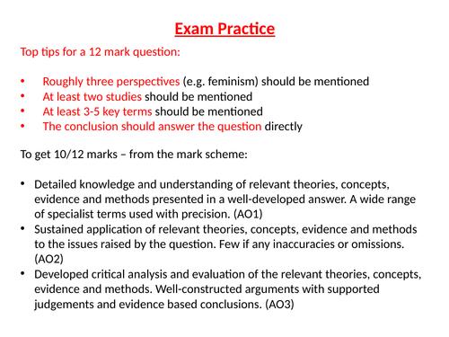 AQA - GCSE Sociology - Exemplar 12 mark essay question