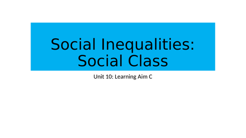 BTEC National Health and Social Care Unit 10 Inequalities Learning Aim C