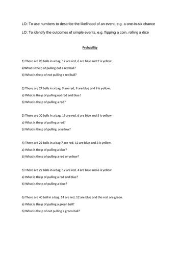 Probability Complete Scheme - 3 Lessons