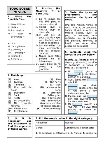 Revision Sheet KS3 - Viva 2 Unit 2 Todo sobre mi vida