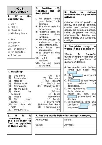 Revision Sheet KS3 - Viva 2 Unit 4 Que hacemos