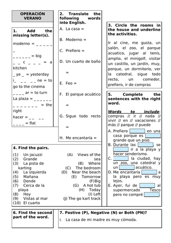 Revision Sheet KS3 - Viva 2 Unit 5 Operacion Verano