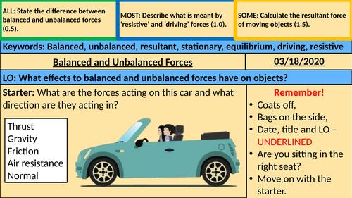 Balanced and Unbalanced Forces - KS3