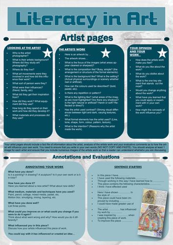 KS4 & KS5 art literacy sheet