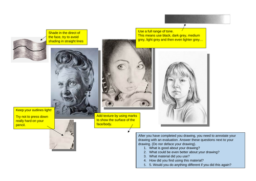 Realistic tonal portrait help sheet