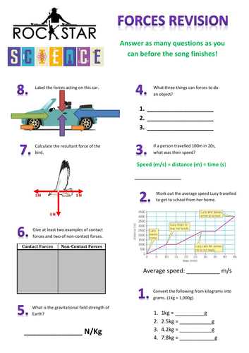 Forces Revision Worksheet KS3
