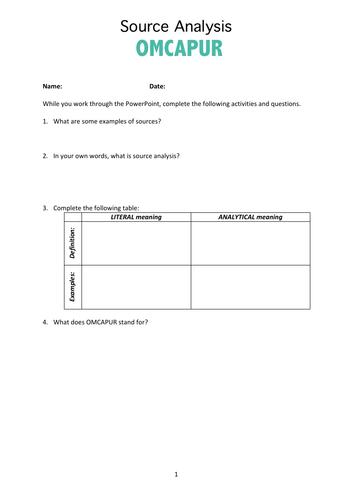 Source Analysis OMCAPUR worksheet & PDF