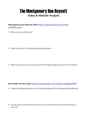 Montgomery Bus Boycott - Video & Website Analysis Activity