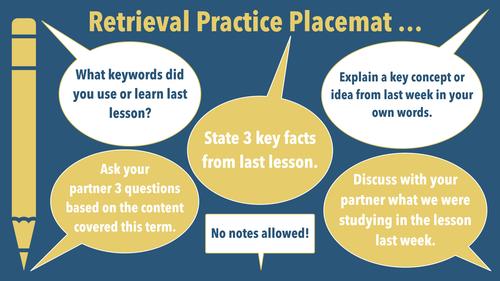 Retrieval Practice Placemat