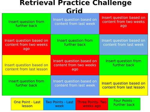 Retrieval Practice Challenge Grid - Blank Template