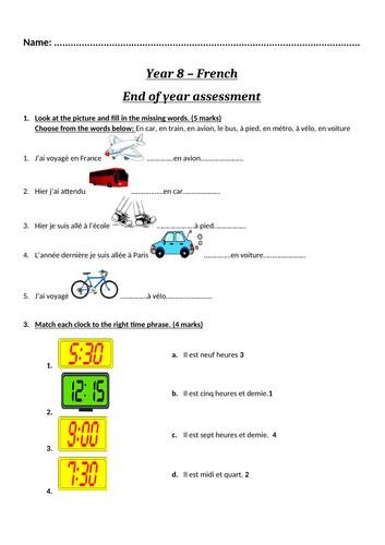 Year 8 - French Assessment + Markscheme