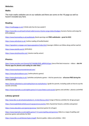 Useful Websites for Home Learning