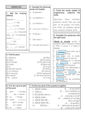 Revision Sheet KS3 - Viva 3 Unit 1 Somos asi