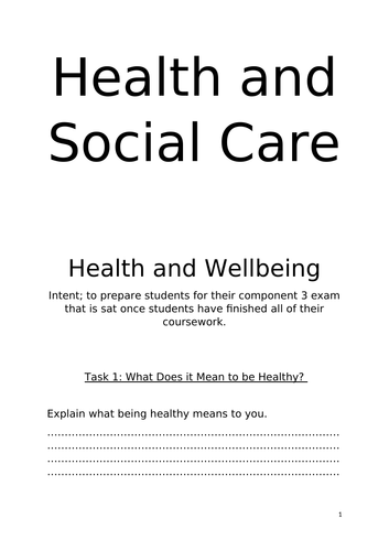 Health and Soial Care Work Book Level 2/ GCSE/ Y9