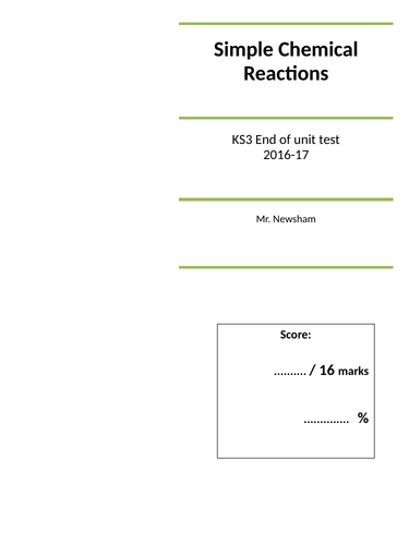 Test - Simple Chemical Reactions KS3