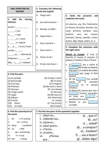 Revision Sheet KS3 - Viva 3 Unit 5 Una Aventura en Madrid