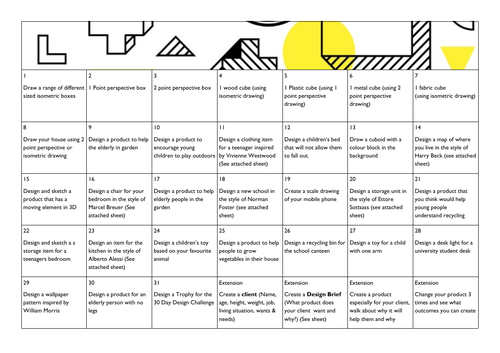 30 day design challenge - home learning resource