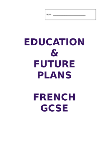 Independent Activity Booklet GCSE 'Education and Future Plans'