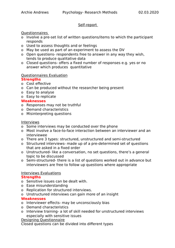 AQA A-level Psychology Research Methods Self report notes