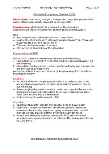 AQA A-level Psychology OCD Notes