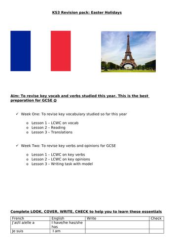 Revision booklet KS3/school closure