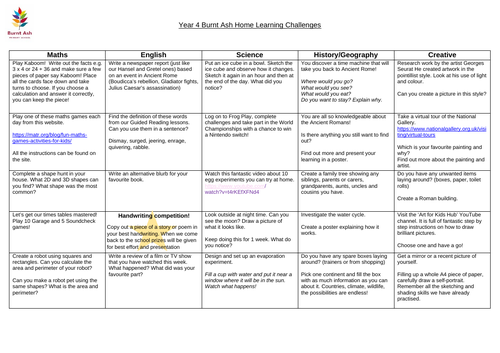 Year 4 - 3 weeks worth of home learning - Covid-19