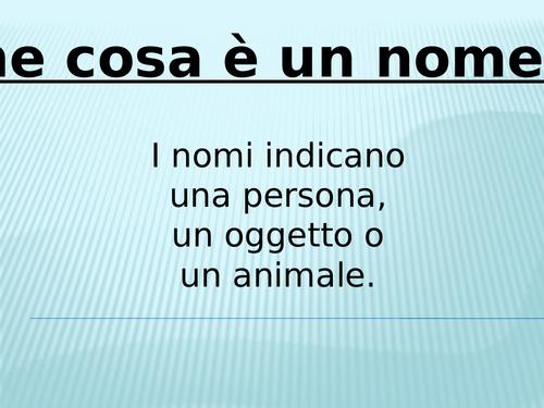 I nomi in italiano al maschile