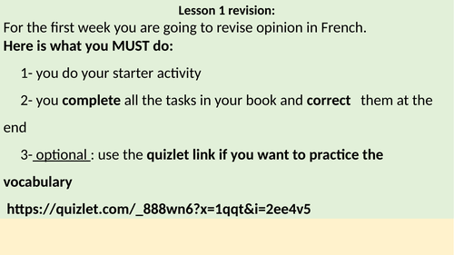 home learning 30 min revision on opinion year 7 French