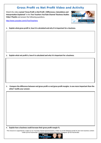 Net Profit vs Gross Profit: video & activity resource with calculation answers