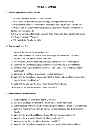 AQA AS German exemplar speaking questions